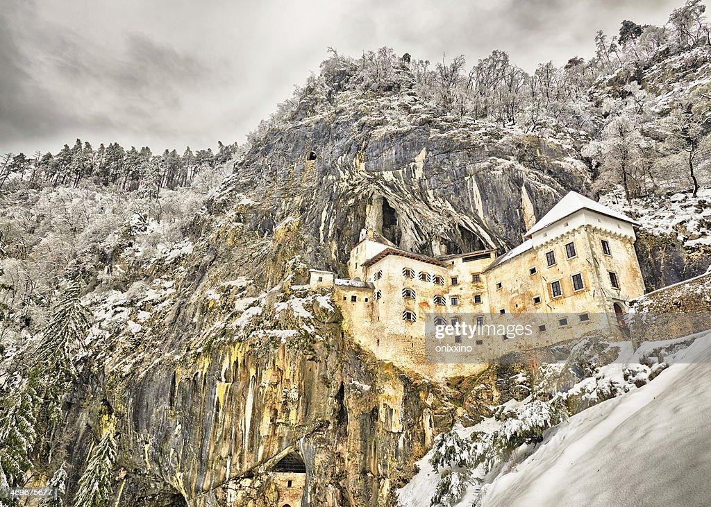 Predjamski grad in winter, Slovenia : Stock Photo