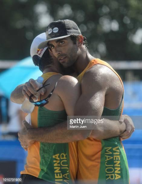 Predo Solberg Salgado of Brazil and Bruno Oscar Schmidt of Brazil celebrte their victory after the match in the men's round of 16 between Predo...