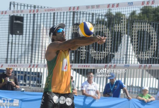 Predo Solberg Salgado of Brazil competes during match im the men's round of 16 between Predo Solberg Salgado of Brazil and Bruno Oscar Schmidt of...