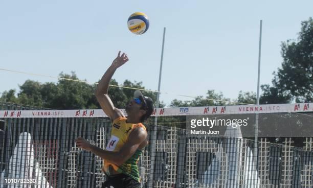 Predo Solberg Salgado of Brazil plays the ball backwards over the net during match im the men's round of 16 between Predo Solberg Salgado of Brazil...