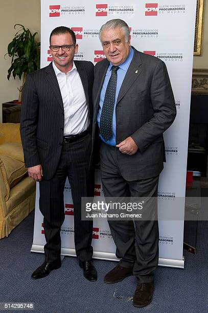 Predrag Mijatovic and Lorenzo Sanz attend 'International Women's Day' at Club Financiero Genova on March 8 2016 in Madrid Spain