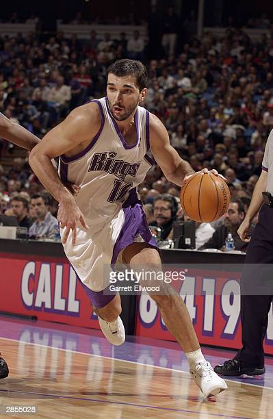Predrag Stojakovic of the Sacramento Kings drives during the game against the Memphis Grizzlies at Arco Arena on December 23 2003 in Sacramento...