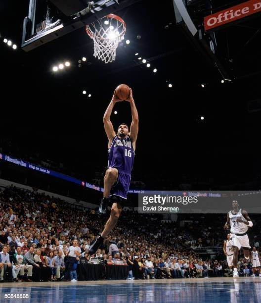 Predrag Stojakovic of the Sacramento Kings drives to the basket in Game Two of the Western Conference Semifinals against the Minnesota Timberwolves...