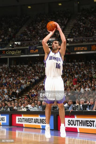 Predrag Stojakovic of the Sacramento Kings shoots the jump shot against the Dallas Mavericks during Game five of the Western Conference Quarterfinals...