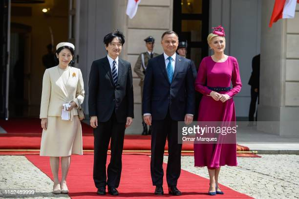 Predsident of Poland, Andrzej Duda and his wife, Agata Duda welcome the Crown Prince Akishino and Crown Princess Kiko during the official welcome...