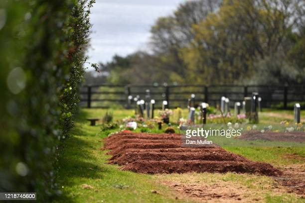 Pre-dug graves for Covid-19 deaths are seen in Maker Cemetery on April 14, 2020 in Maker, England. The Coronavirus pandemic has spread to many...