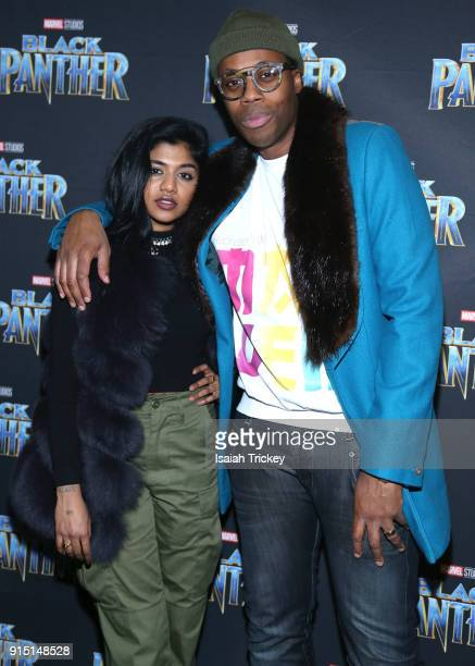Pree and Kardinal Offishall attend the Toronto Premiere of 'Black Panther' at Scotiabank Theatre on February 6 2018 in Toronto Canada
