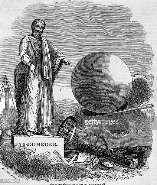 Preeminent Greek mathematician and inventor Archimedes demonstrates the use and power of the lever