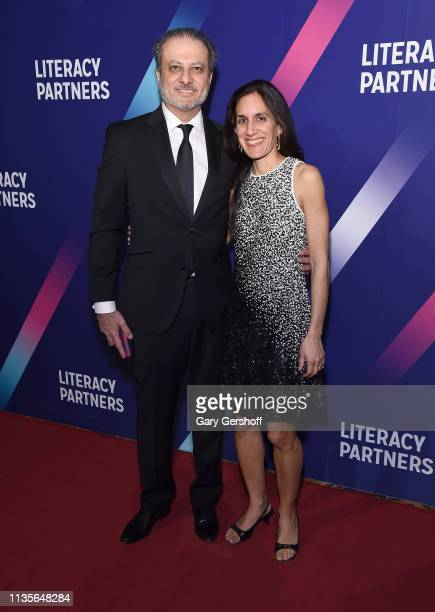 Preet Bhahara and Dalya Bharara attend the Literacy Partners' 2019 Annual Evening of Readings Gala Dinner at Cipriani Wall Street on March 13 2019 in...