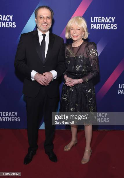 Preet Bhahara and event honoree Leslie Stahl attend the Literacy Partners' 2019 Annual Evening of Readings Gala Dinner at Cipriani Wall Street on...