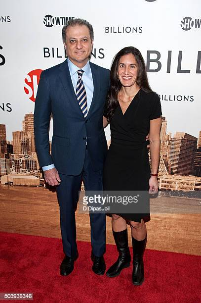 Preet Bharara and wife Dalya Bharara attend the Billions series premiere at the Museum of Modern Art on January 7 2016 in New York City