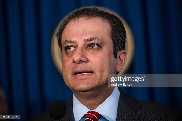 Preet Bharara United States attorney for the Southern District of New York speaks at a press conference announcing criminal charges against JPMorgan...