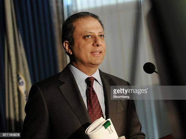 Preet Bharara US attorney for the Southern District of New York speaks during a news conference in New York US on Thursday April 14 2016 Two town...