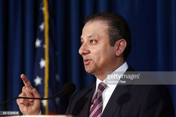 Preet Bharara US Attorney for the Southern District of New York speaks at a news conference where it was announced that a former president of the...