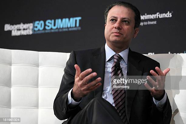 Preet Bharara US attorney for the Southern District of New York at the US Department of Justice speaks at the Bloomberg Markets 50 Summit in New York...