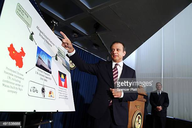 Preet Bharara US Attorney of the Southern District of New York speaks at a news conference where it was announced that a former president of the...
