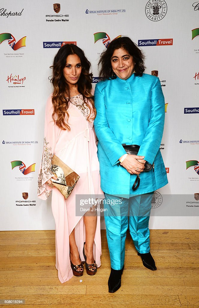 Preeya Kalidas (L) and Gurinder Chadha attend a reception and dinner for supporters of The British Asian Trust at Natural History Museum on February 2, 2016 in London, England.