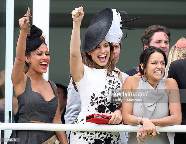 Preeya Kalidas Kelly Brook and Michelle Rodriguez watch ladies day at 'Glorious Goodwood' at Goodwood on August 2 2012 in Chichester England