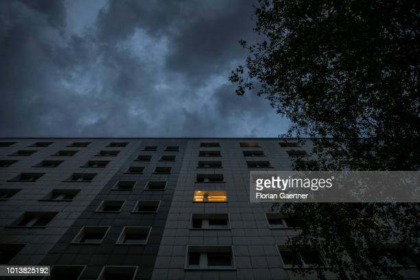 Prefabricated buildings are pictured during blue hours on August 08 2018 in Berlin Germany