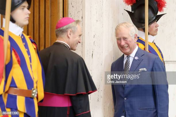 Prefect of the Papal Household Georg Gaenswein greets Prince Charles Prince of Wales prior to the meeting with Pope Francis on April 4 2017 in...