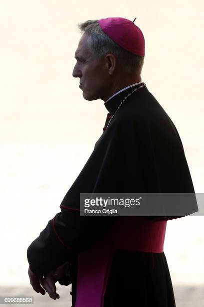 Prefect of the papal household Georg Gaenswein waits at the Apostolic Palace for the King and Queen of the Netherlands arrival on June 22 2017 in...