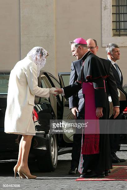Prefect of the Pontifical House Georg Ganswein receives Prince Albert II of Monaco and Princess Charlene of Monaco as they arrive at the Apostolic...