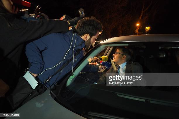 Prefet of Pyrenes Orientales Philippe Vignes speaks to journalists from his car on December 26 2017 in SaintFeliu d'Avall after his meeting with...