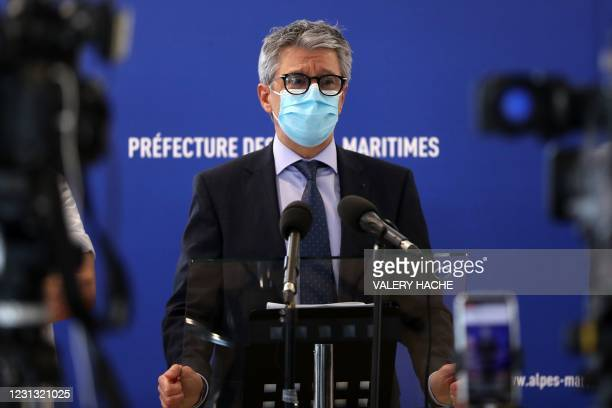 Prefet of the Alpes-Maritimes region Bernard Gonzalez gives a press conference to announce a new set of local restrictions against Covid-19 to combat...