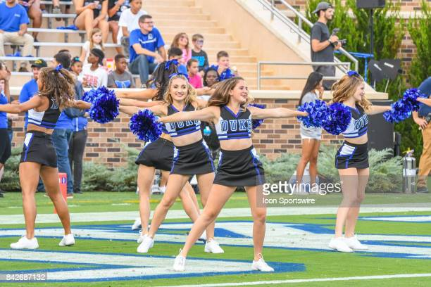 Pregame activities and the Duke Blue Devils cheerleaders during a college football game between the North Carolina Central Eagles and the Duke Blue...
