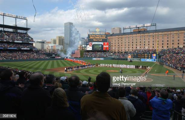 Pregame activities took place under partly cloudy skies for the Baltimore Orioles and Cleveland Indians before a 13 miniute snow delay was called on...
