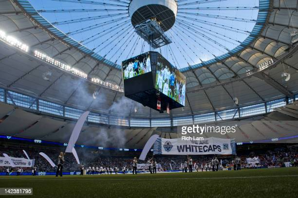 Pre-game ceremonies take place on the field with the open roof prior to MLS soccer action between D.C. United and the Vancouver Whitecaps on March...