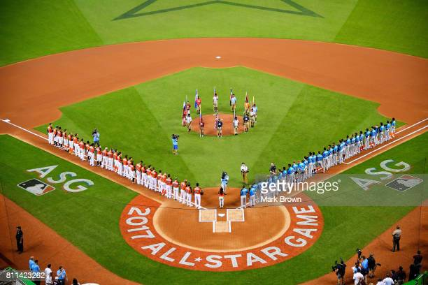 Pregame ceremonies take place prior to the SiriusXM AllStar Futures Game between the US Team and the World Team at Marlins Park on July 9 2017 in...