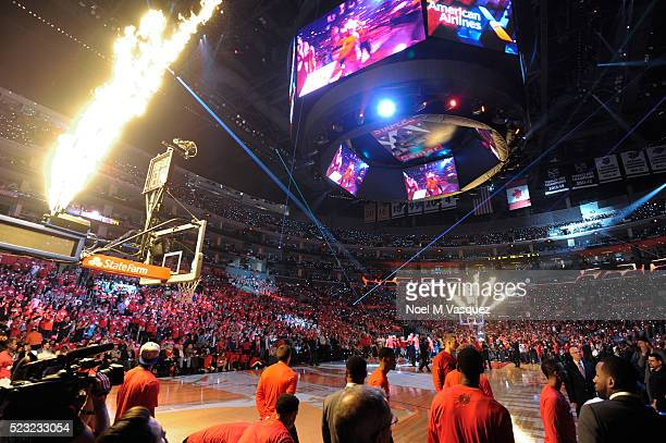 Pregame ceremony is displayed before Los Angeles Clippers and the Portland Trail Blazers Game Two of the Western Conference Quarterfinals during the...