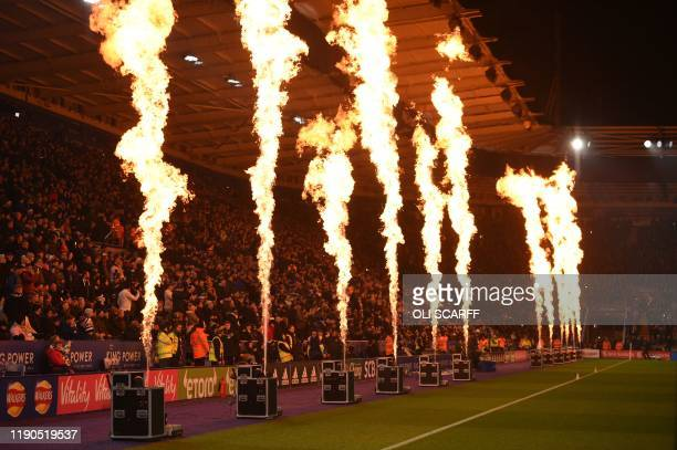 Pregame entertainment for the fans ahead of the English Premier League football match between Leicester City and Liverpool at King Power Stadium in...