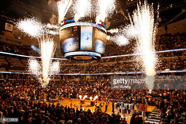 Pregame fireworks before the Memphis Grizzlies play the Boston Celtics on March 8 2008 at the FedExForum in Memphis Tennessee NOTE TO USER User...
