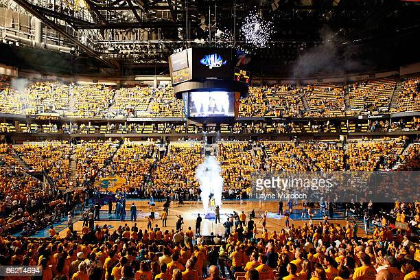 Pregame player introductions take place before New Orleans Hornets play against the Denver Nuggets in Game Three of the Western Conference...