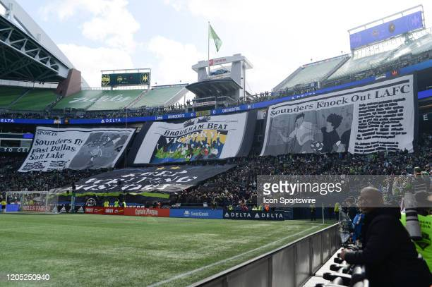 A pregame TIFO by the Seattle Sounders supporter group ECS before a MLS match between the Chicago Fire and the Seattle Sounders at Century Link Field...