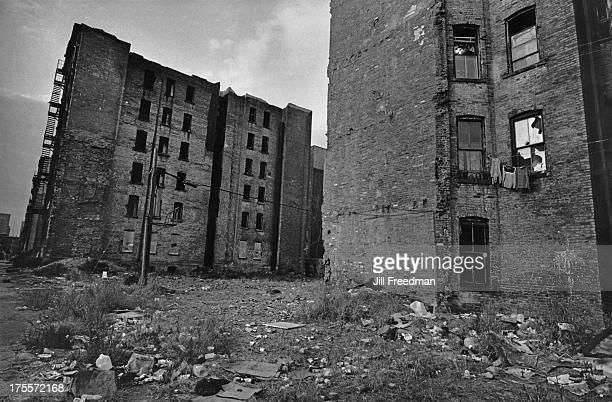 Pregentrification rundown slum tenement housing in the East Village New York City 1979