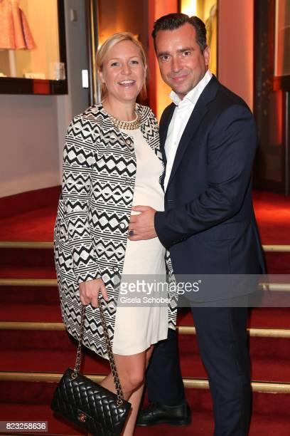 Pregnant Andrea Muehlbauer and her boyfriend Falk Raudies during the Hotel Vier Jahreszeiten summer party 'Eclat Dore' on July 26 2017 in Munich...