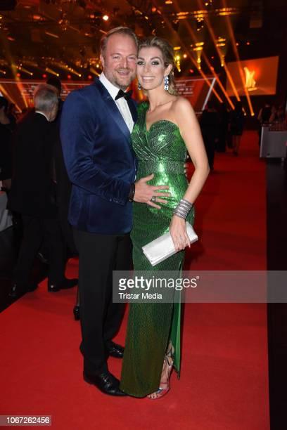 Pregnant Annika Gassner and her boyfriend Istok Kespret during the 14th Kinderlachen Gala at Westfalenhalle on December 1 2018 in Dortmund Germany