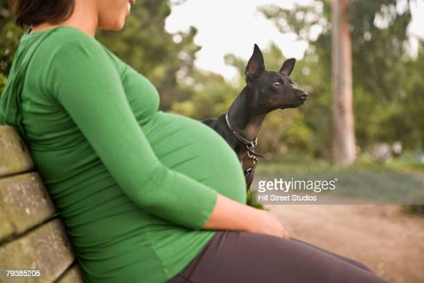 Pregnant Asian woman with dog