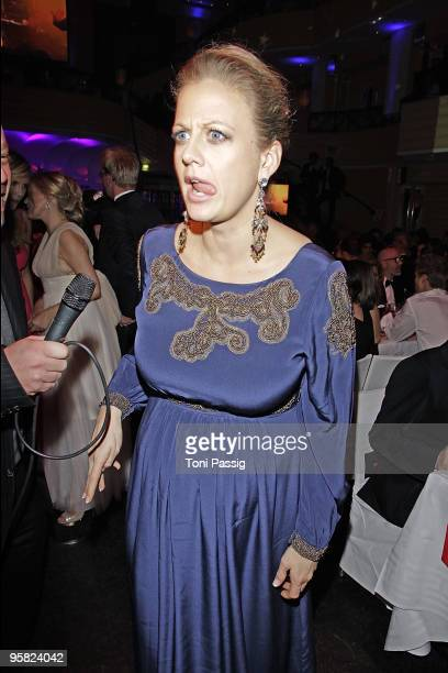 Pregnant Barbara Schoeneberger attends the 37 th German Filmball 2010 at the hotel Bayrischer Hof on January 16 2010 in Munich Germany