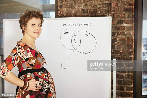 Pregnant businesswoman standing near whiteboard in office