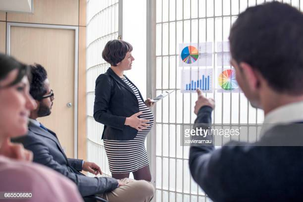 Pregnant businesswoman with colleagues in meeting
