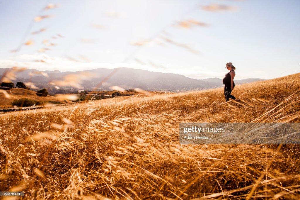 Pregnant Caucasian woman walking in rural meadow : Foto stock