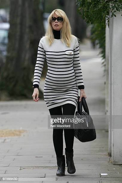 A pregnant Claudia Schiffer is sighted whilst walking through Notting Hill on March 10 2010 in London England