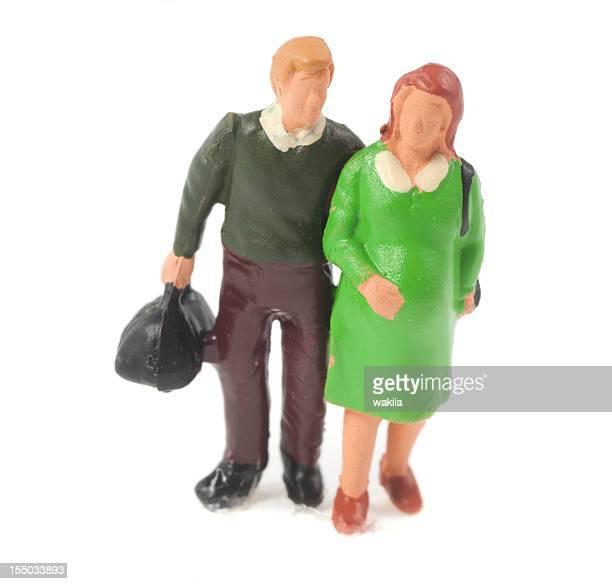 pregnant couple figurine - baby bekommen vor den wehen - figurine stock pictures, royalty-free photos & images
