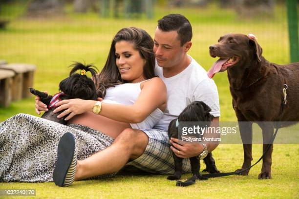 pregnant couple on the grass with their dogs - dog knotted in woman stock pictures, royalty-free photos & images