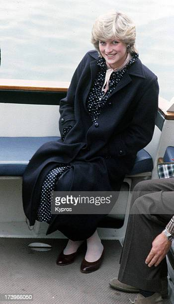 A pregnant Diana Princess of Wales during a boat trip on the Scilly Isles 1982