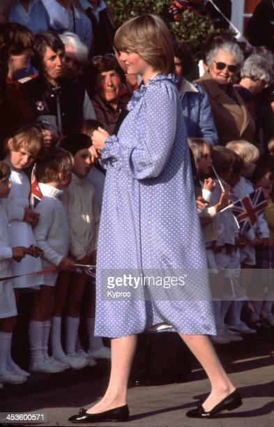 A pregnant Diana Princess of Wales visits the Isles of Scilly April 1982 She is wearing a maternity dress by Catherine Walker
